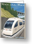 Mass. Greeting Cards - Vintage Max Light Rail Travel Poster Greeting Card by Mitch Frey