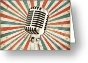 Karaoke Greeting Cards - Vintage Microphone Greeting Card by Setsiri Silapasuwanchai