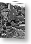 Old Mills Greeting Cards - Vintage Mill in Black and White Greeting Card by Paul Ward