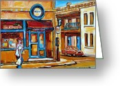 Spring Scenes Painting Greeting Cards - Vintage Montreal City Scenes Waldmans Seafood Restaurant Greeting Card by Carole Spandau
