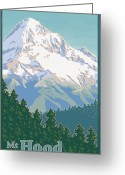 Volcanic Greeting Cards - Vintage Mount Hood Travel Poster Greeting Card by Mitch Frey