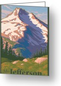 Kitchen Decor Greeting Cards - Vintage Mount Jefferson Travel Poster Greeting Card by Mitch Frey