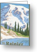 Cascades Greeting Cards - Vintage Mount Rainier Travel Poster Greeting Card by Mitch Frey