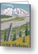 Volcanic Greeting Cards - Vintage Mount St. Helens Travel Poster Greeting Card by Mitch Frey