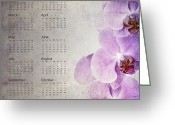 Calendar Greeting Cards - Vintage orchid calendar 2013 Greeting Card by Jane Rix