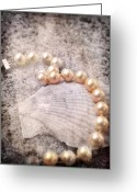Gold Bracelet Greeting Cards - Vintage Pearls Greeting Card by Jai Johnson