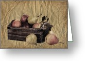 Stripes Greeting Cards - Vintage pears Greeting Card by Jane Rix