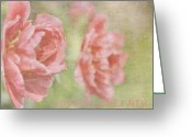 Pink Peonies Greeting Cards - Vintage Peonies Inspire Greeting Card by Toni Hopper