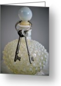 Boho Greeting Cards - Vintage Perfume Bottle with Skeleton Keys. Greeting Card by Wildwood  Artistry