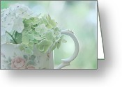 Sage Green Greeting Cards - Vintage Pitcher Greeting Card by Bonnie Bruno