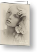 Beauty Care Greeting Cards - Vintage Portrait of a Beautiful Young Woman Greeting Card by Oleksiy Maksymenko