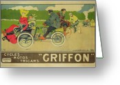 Motorbike Greeting Cards - Vintage poster Bicycle Advertisement Greeting Card by Walter Thor