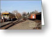 Tanker Train Greeting Cards - Vintage Railroad Trains In Old Sacramento California . 7D11513 Greeting Card by Wingsdomain Art and Photography