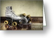 Rink Greeting Cards - Vintage roller skates  Greeting Card by Carlos Caetano