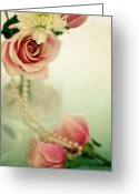 Chic Greeting Cards - Vintage Rose Greeting Card by Lana Trussell