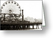 California Photographer Greeting Cards - Vintage Santa Monica Pier Greeting Card by John Rizzuto