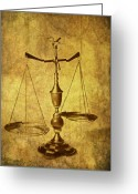 Justice Greeting Cards - Vintage Scale Greeting Card by Tom Mc Nemar