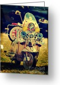 Motorbike Greeting Cards - Vintage Scooter Greeting Card by Yhun Suarez