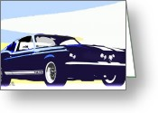 Mustang Greeting Cards - Vintage Shelby GT500 Greeting Card by Bob Orsillo