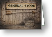 Signpost Greeting Cards - Vintage sign General Store Greeting Card by Jane Rix