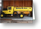 Old Trucks  Greeting Cards - Vintage Signal Gasoline Truck . 7D12935 Greeting Card by Wingsdomain Art and Photography