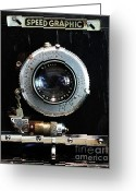 Slr Greeting Cards - Vintage Speed Graphic Camera . 7D13214 Greeting Card by Wingsdomain Art and Photography
