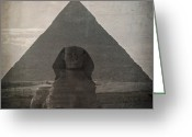 Ancient Tomb Greeting Cards - Vintage Sphinx Greeting Card by Jane Rix