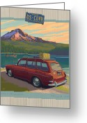 Cascades Greeting Cards - Vintage Squareback at Trillium Lake Greeting Card by Mitch Frey