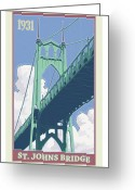 Portland Greeting Cards - Vintage St. Johns Bridge Travel Poster Greeting Card by Mitch Frey