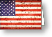 Aged Greeting Cards - Vintage Stars and Stripes Greeting Card by Jane Rix