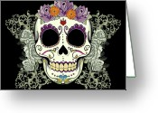 Purple Greeting Cards - Vintage Sugar Skull and Roses No. 2 Greeting Card by Tammy Wetzel