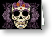 Purple Floral Greeting Cards - Vintage Sugar Skull and Roses Greeting Card by Tammy Wetzel