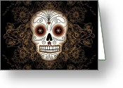 Celebration Greeting Cards - Vintage Sugar Skull Greeting Card by Tammy Wetzel