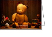 Diffused Greeting Cards - Vintage Teddy Bear and Toys Greeting Card by Olivier Le Queinec