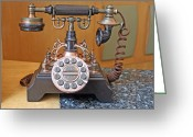 Vintage Accents Greeting Cards - Vintage Telephone Greeting Card by Sudarshan Vijayaraghavan