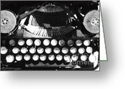 Typewriter Keys Greeting Cards - Vintage Typewriter Silk Screen Greeting Card by adSpice Studios