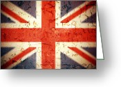 Patriotism Greeting Cards - Vintage Union Jack Greeting Card by Jane Rix