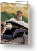 Retro Greeting Cards - Vintage Union Station Train Poster Greeting Card by Mitch Frey