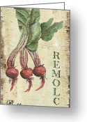 Old Painting Greeting Cards - Vintage Vegetables 3 Greeting Card by Debbie DeWitt