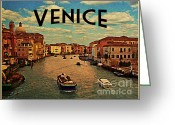 Gondola Digital Art Greeting Cards - Vintage Venice Italy Greeting Card by Vintage Poster Designs