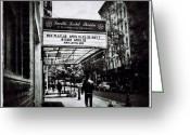 Blackandwhite Greeting Cards - Vintage Village Venue Greeting Card by Natasha Marco