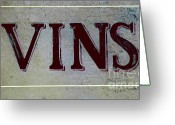 Bar Decor Greeting Cards - Vintage Vins Greeting Card by AdSpice Studios