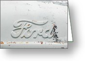 Contemporary Pyrography Greeting Cards - Vintage White Ford Sign Greeting Card by Anahi DeCanio