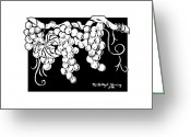 Indian Ink Greeting Cards - Vintage White Greeting Card by Kapal-Lou