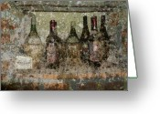 Wine Cellar Greeting Cards - Vintage Wine Bottles - Tuscany  Greeting Card by Jen White