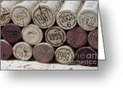 Anniversary Greeting Cards - Vintage Wine Corks Greeting Card by Frank Tschakert