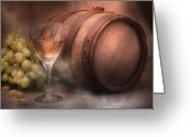 Cask Greeting Cards - Vintage Wine Greeting Card by Tom Mc Nemar