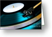 Round Greeting Cards - Vinyl Record Greeting Card by Carlos Caetano