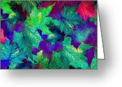 Happy Colors Greeting Cards - Violaceous Greeting Card by Lourry Legarde