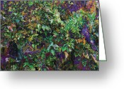 Greens Framed Prints Greeting Cards - Violet Jungle Greeting Card by Maria Eames